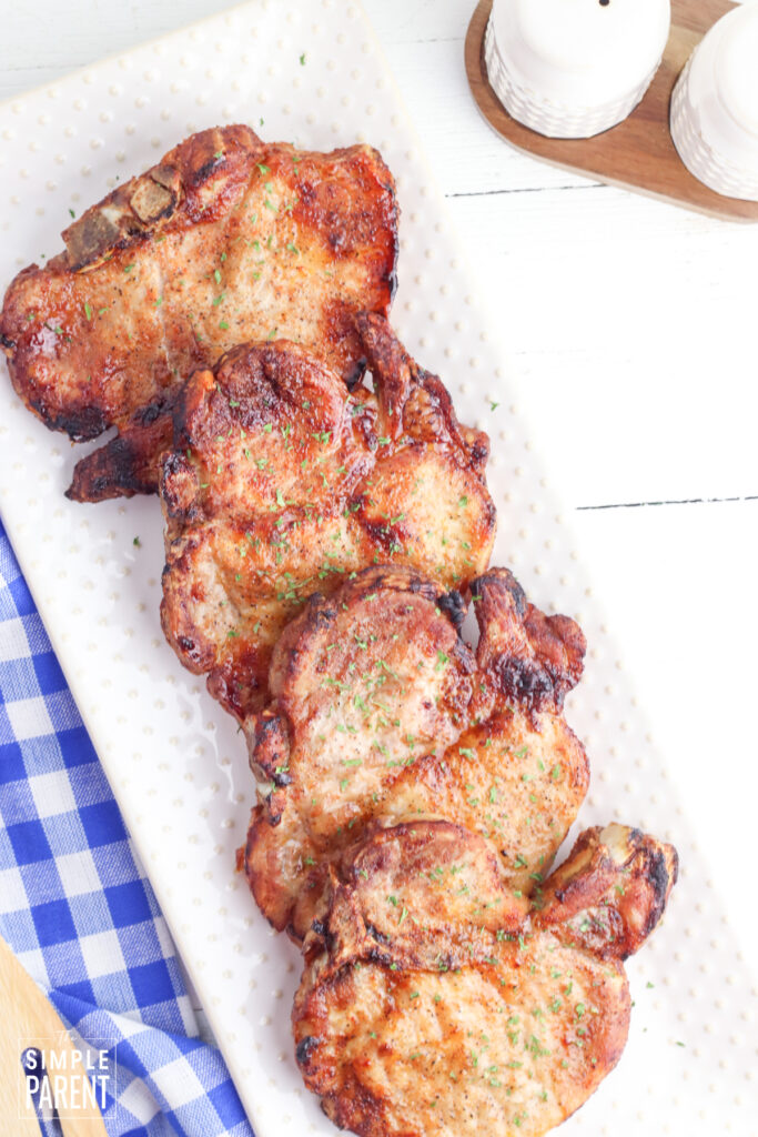 Plate of air fried pork chops
