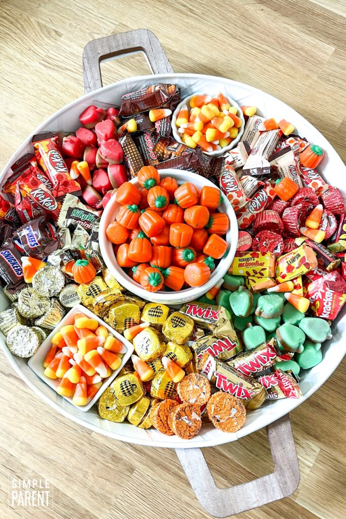Candy Charcuterie Board in round serving tray