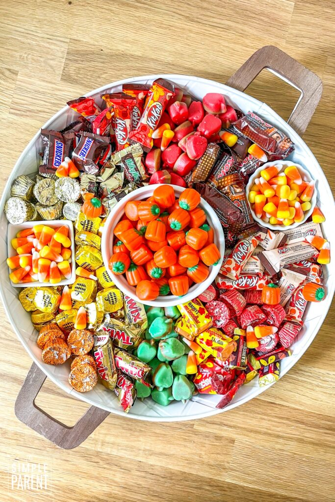 Candy Charcuterie Tray with fall candy